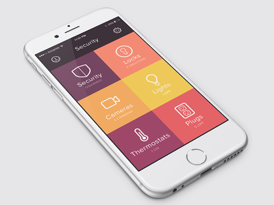 House Monitoring App iphone 6 app clean minimal colors flat security