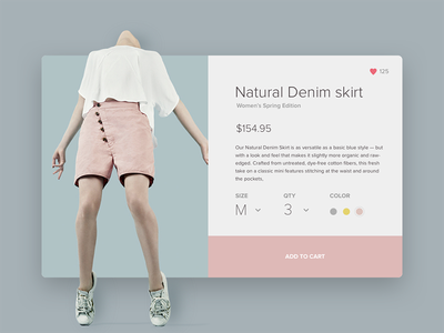Fashion clothing product page concept add to cart colors minimal flat clean page product fashion