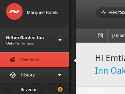 GUI for hotel management app ui gui user interfaces graphical red dark grey texture pixel perfect sharp dashboard