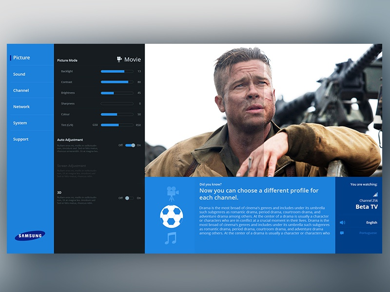 First shot challenge daily dailyui menu tv modern design ui