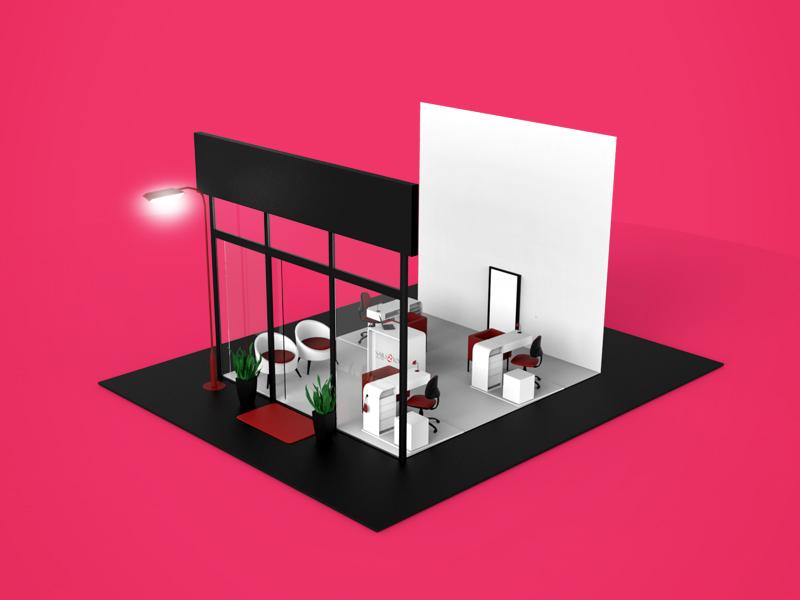 Store  modeling 3d maya