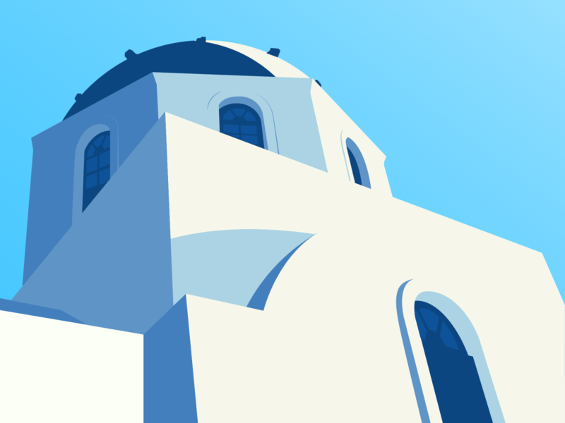 Santorini Illustration greece blue adobe illustrator vector santorini illustration