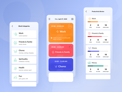 Work From Home - Productivity App mobile ui app ui app design ux design ui design mobile app design ux ui