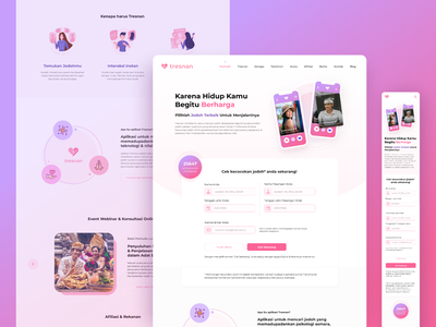 Landing Page of Cultural Dating App culture technology psychology couple valentine merry love pink branding mobile app design ux ui