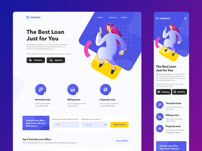 Arabian Loan Service Landing Page - Fun Version arabian arabic arab illustration loan finance fun business website landing page web branding ux ui design