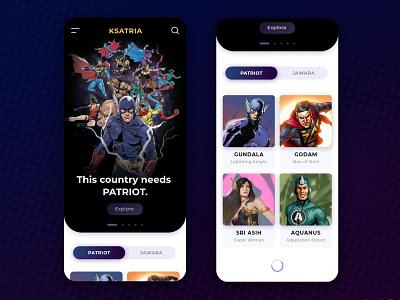 KSATRIA mobile gundala patriot jawara ksatria bumilangit indonesian indonesia comicbook comic superheroes superhero heroes hero ux design ui design app ui app design ui ux