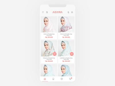 AISYIRA commerce syari clean hijab muslimah style fashion app fashion store ecommerce mobile ui ux design ui design mobile app ui app design app design ux ui