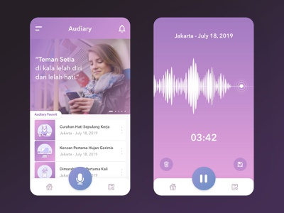 Audiary player love heart feelings notes diary audio voice mobile ui ux design ui design mobile app ui app design app design ux ui