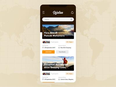 Sejalan group join sharing tent mountain hiking friends adventure mobile ui ux design ui design mobile app ui app design app design ux ui