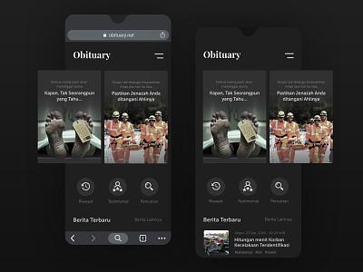 Obituary death die dead duka kabar matid dark obituary mobile ui ux design app app ui ui design mobile app design ux design ui