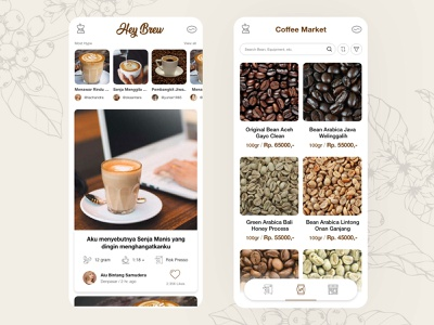 Hey Brew santai senja indie kopi kopikekinian brewing brew hey indiefolk coffee cup mobile ui ux design app ui ui design mobile app app design design ux ui