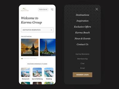 Karma Group: Progressive Web App Concept karma holiday villa hotel bali vacation travel karmagroup pwa hospitality mobile ui ux design ui design mobile app ui app design app design ux ui