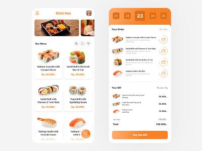 Oishi Hut orange hut oishi queue meal service app food restaurant mobile ui ux design ui design mobile app ui app design app design ux ui