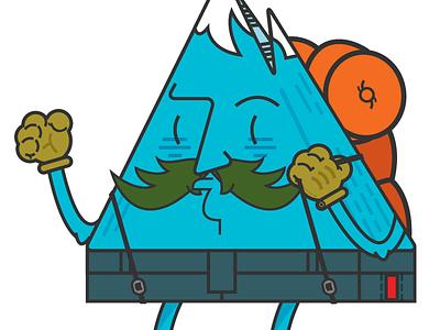 Mr. Mountain Man #4 mountain man hiker climber alps aspen blueridge cartoon vector illustration rei
