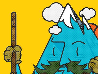 Mr. Mountain Man in Halftone mountain man illustration vector climbing alps aspen summit character design poster logo