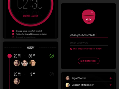 Shutapp - Digital Detox App sign up clean head timer detox mobile ux ui design app