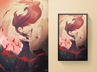Redemption wolf girl illustrator digital painting digital art art illustration design colorful