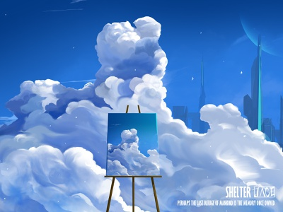 shelter sky city artwork digital painting art illustration design colorful