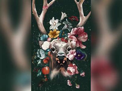 Spring oil painting digital painting oil paint flowers beauty artwork digital art deer animal art illustration colorful