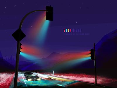 Silent road nightlife night good night digital painting digital art digital artwork art the neon lights cat car light illustrator illustration design colorful color