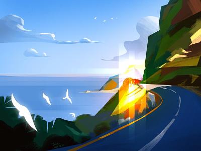 Island Ring road lightning road island blue sky sea beauty digital painting digital art digital artwork art illustration illustrator colorful design color
