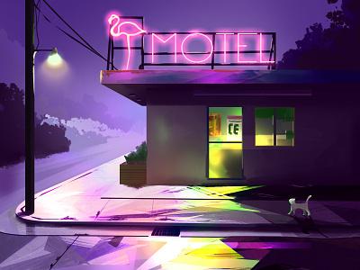 Motel the neon lights light digital painting digital art art digital illustration design colorful color
