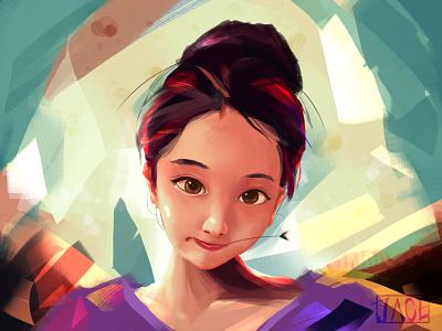 Na illustrator artwork beauty girl digital painting digital art art color illustration design colorful