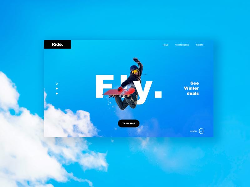 Welcome Page uidesign snowboarding homepage design skiing webdesign landingpage