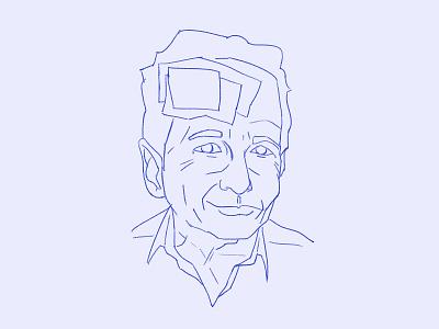 Rauschenberg Sketch design pop art warhol face portrait sketch illustration