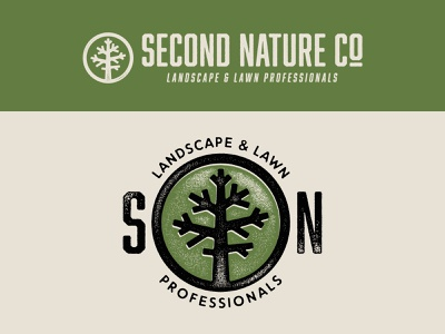 Second Nature Secondary Logos nature tree texture typography logo branding design