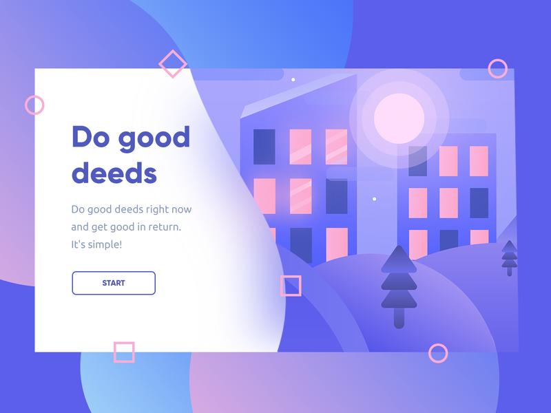 Do good deeds minimal type website flat animation hello file typography web app branding vector freepsd freebie colors new illustration gradients dribbble design