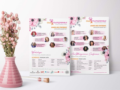 Program design feminine design florals floral watercolor watercolour program brochure flyer graphic design