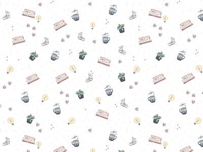Pattern Design 1 - For Kayla Dean pattern patterns pattern design coffee cup books copywriter illustration design design lama pot plant cute pattern pattern a day pattern art branding stationery botanical surface design surface pattern surface pattern design illustration
