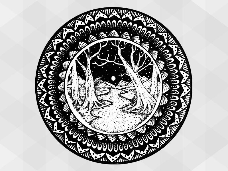 Hand Drawn - Mandala trees mountains moon stars ink paper hand drawn pen stippling mandala