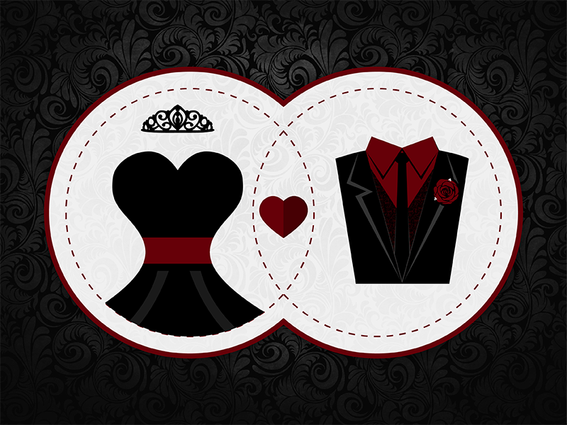 Holy Time Consuming dress suit tiara red black vector marriage wedding