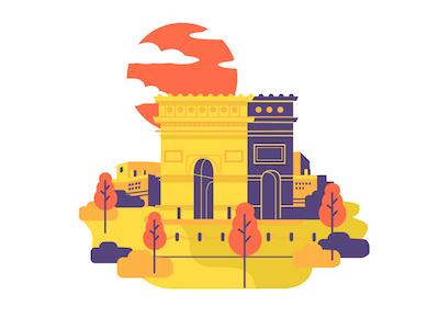 Landscape Illustration graphics bushes buildings trees clouds sunset french colors design illustration