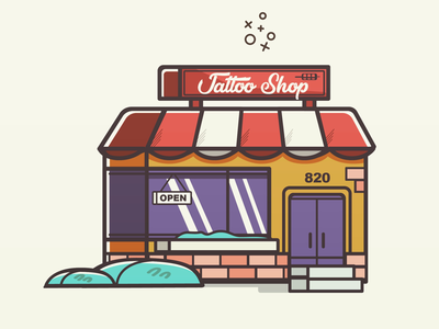 Tattoo shop vector illustration.