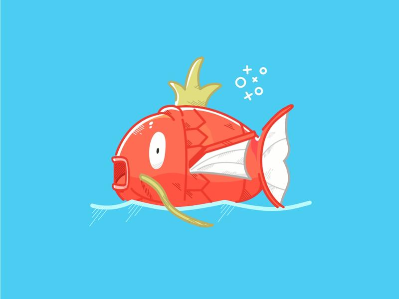 Magikarp Illustration illustration design graphics vectorart vector lineart lines details fun fish pokemon magikarp