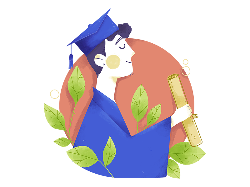 Out of college adult plants digital college curriculum illustration