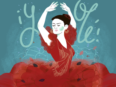 Flamenco lettering music spain olé roses ps texture illustration dance flamenco