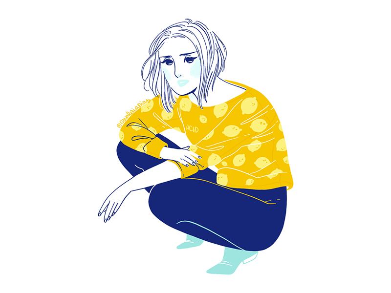 Acid fashion yellow acid flat illustration illustration fashion