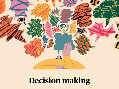 Quartz - Decision making hands decision character colors textures globes quartz artist quartz editorial illustration