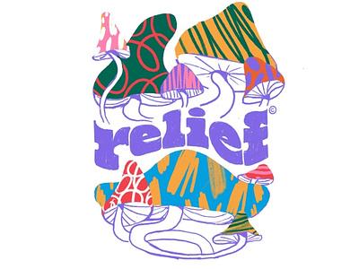 Relief deform typography illustration textures relief print mushrooms