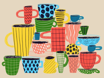 Coffee & Tea Cups design illustration abstract patterns textures cups tea coffe