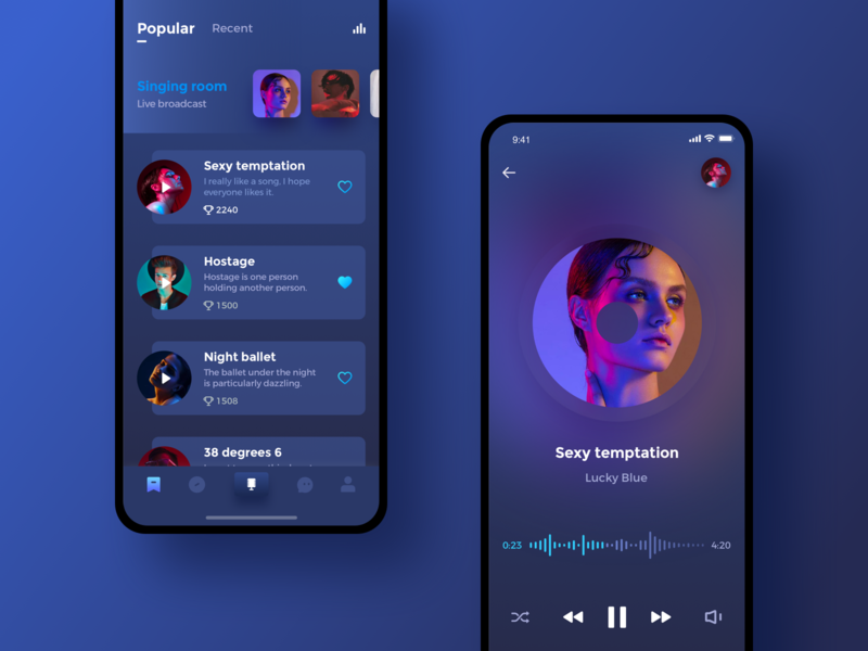 Dark karaoke design dark product app ui
