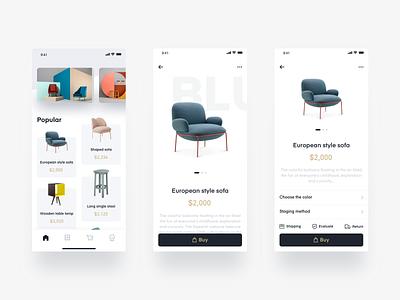 Furniture APP concise design ui furniture app product app