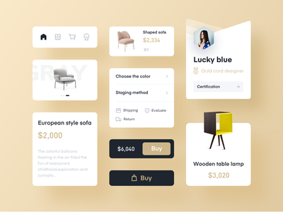 Furniture APP Component simple ui app ui kits furniture app product design