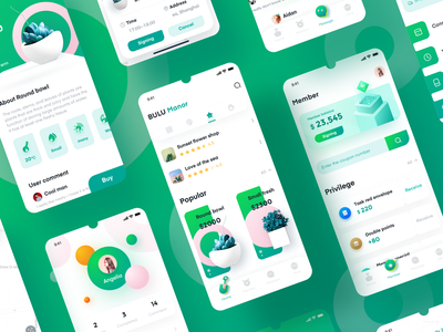 Plant Distribution APP Collection green plant delivery app colorful icon design product ui