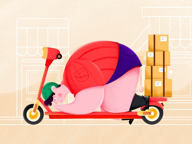 A fat delivery man fat fashion scooter body character boy material illustration illustration colorful design