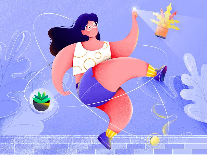 Lucky girl color matching bubble fresh plant yellow purple girl illustration girl